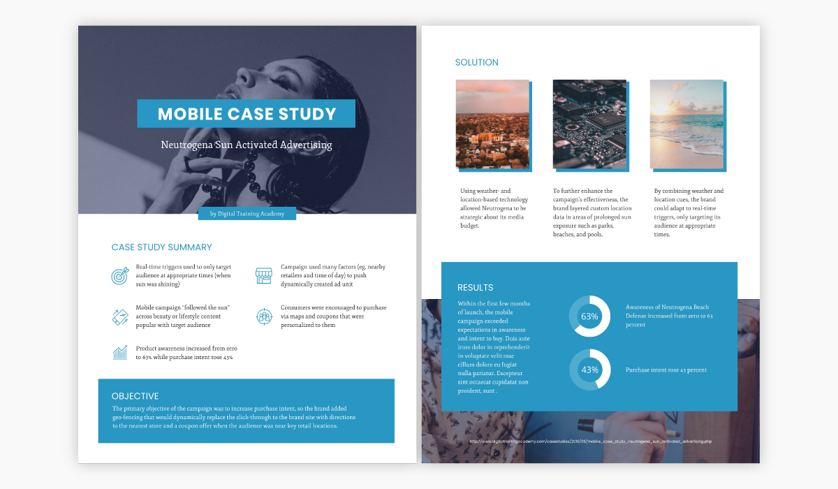 Blue and white case study template available for customization in Visme.