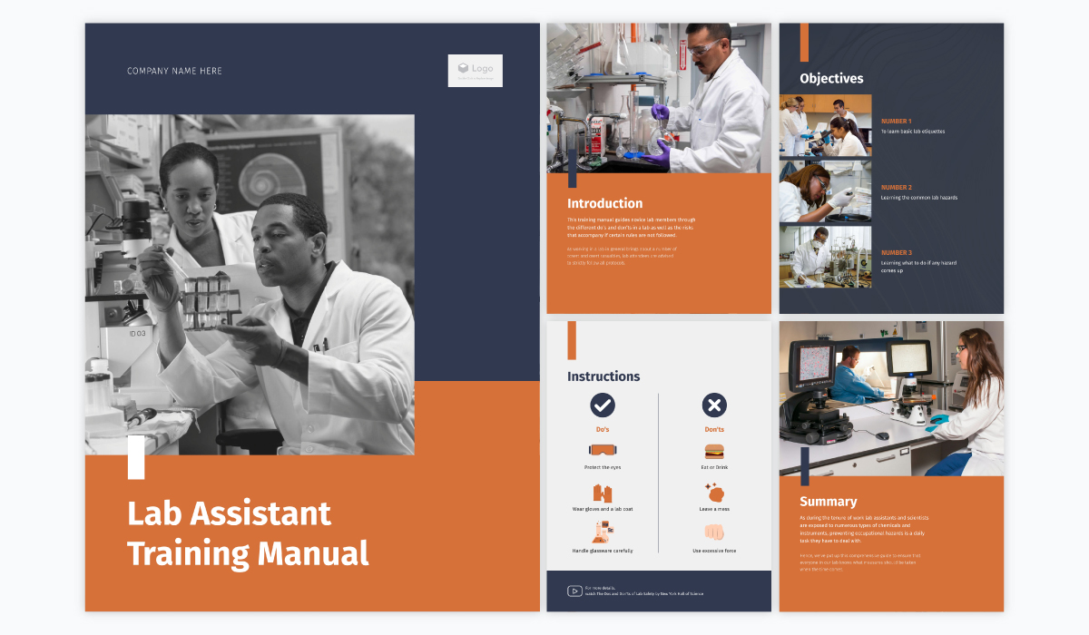 A collage showing the different pages of Visme's lab assistant training manual template.