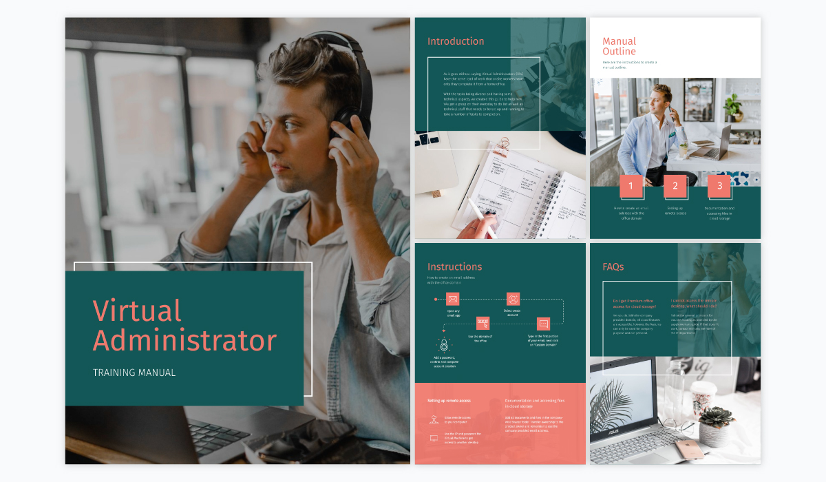 A collage showing the different pages of Visme's virtual administrator training manual template.