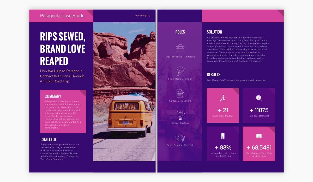 Bright pink and purple case study template available for customization in Visme.