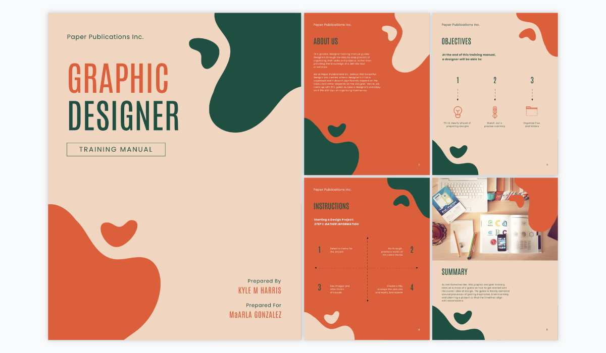 A collage showing the different pages of Visme's graphic design training manual template.