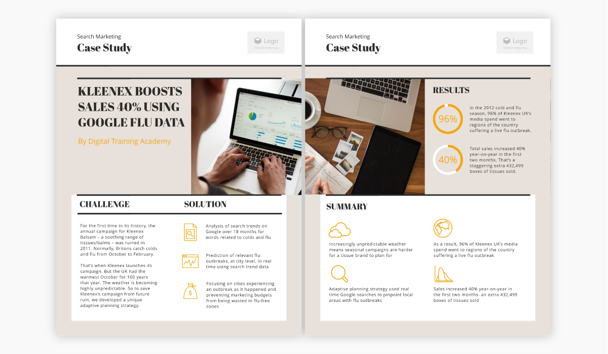 Beige case study template available for customization in Visme.