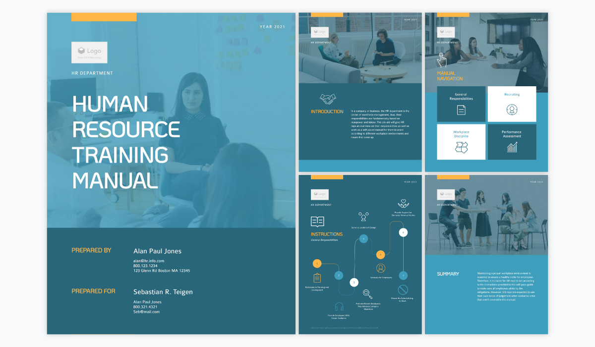A collage showing the different pages of Visme's human resource training manual template.