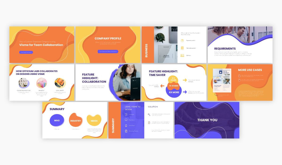 Orange and purple case study presentation template available for customization in Visme.
