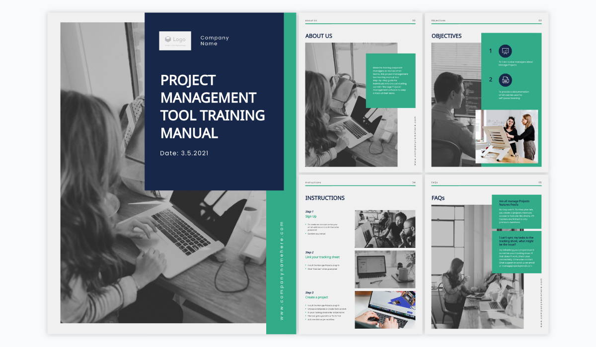 A collage showing the different pages of Visme's project management training manual template.