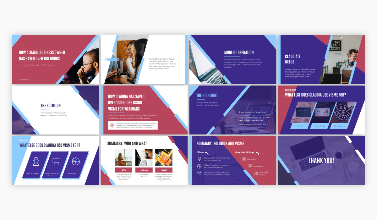 Purple, pink and blue case study presentation available for customization in Visme.