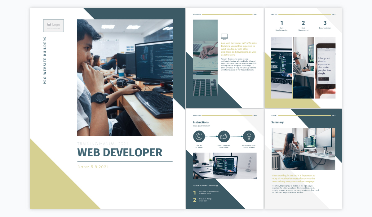 A collage showing the different pages of Visme's web developer training manual template.