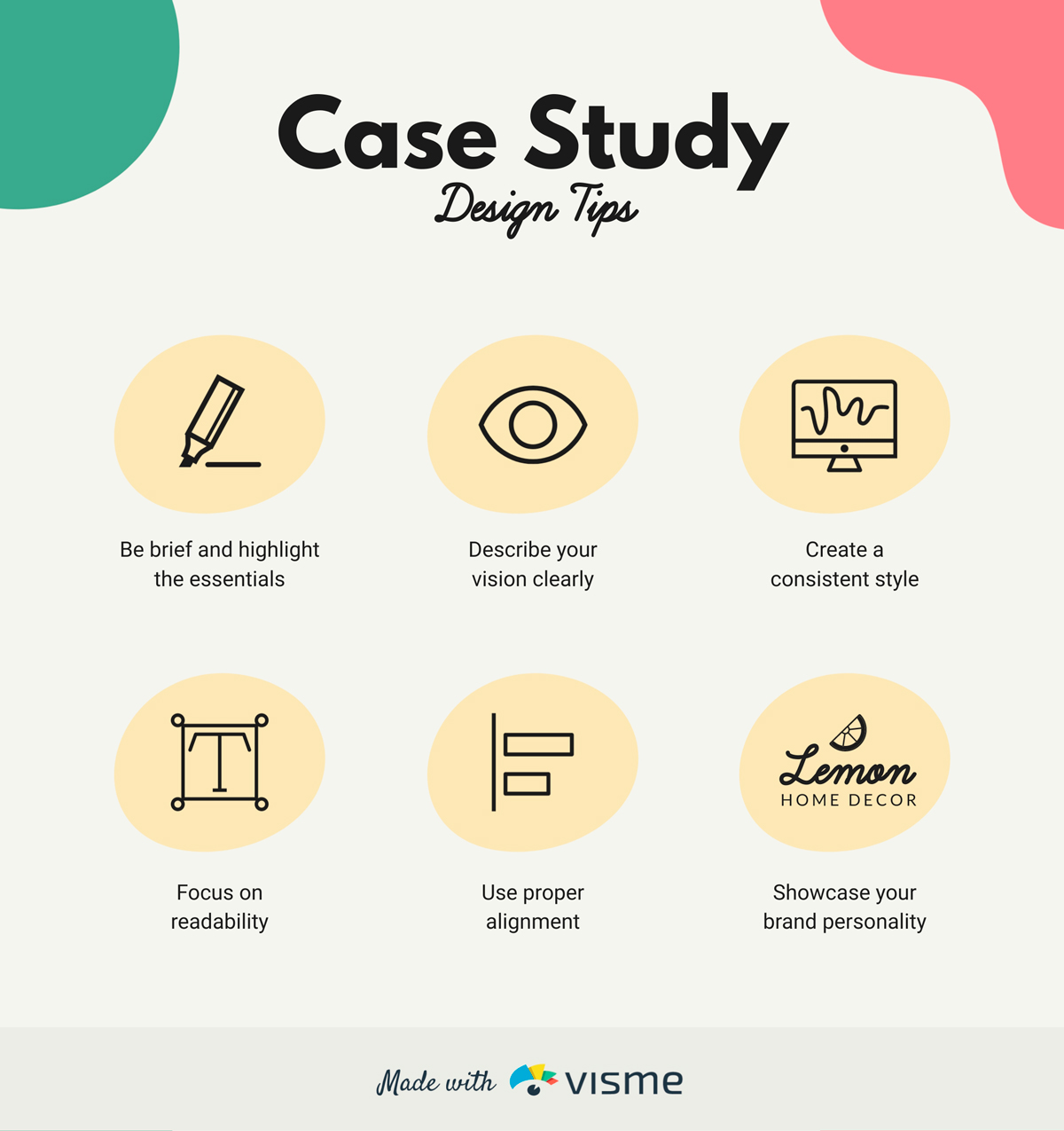 Infographic sharing six case study design tips.