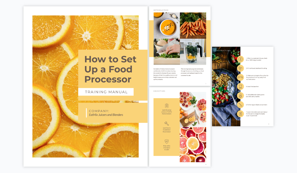 A collage showing the different pages of Visme's food processor training manual template.