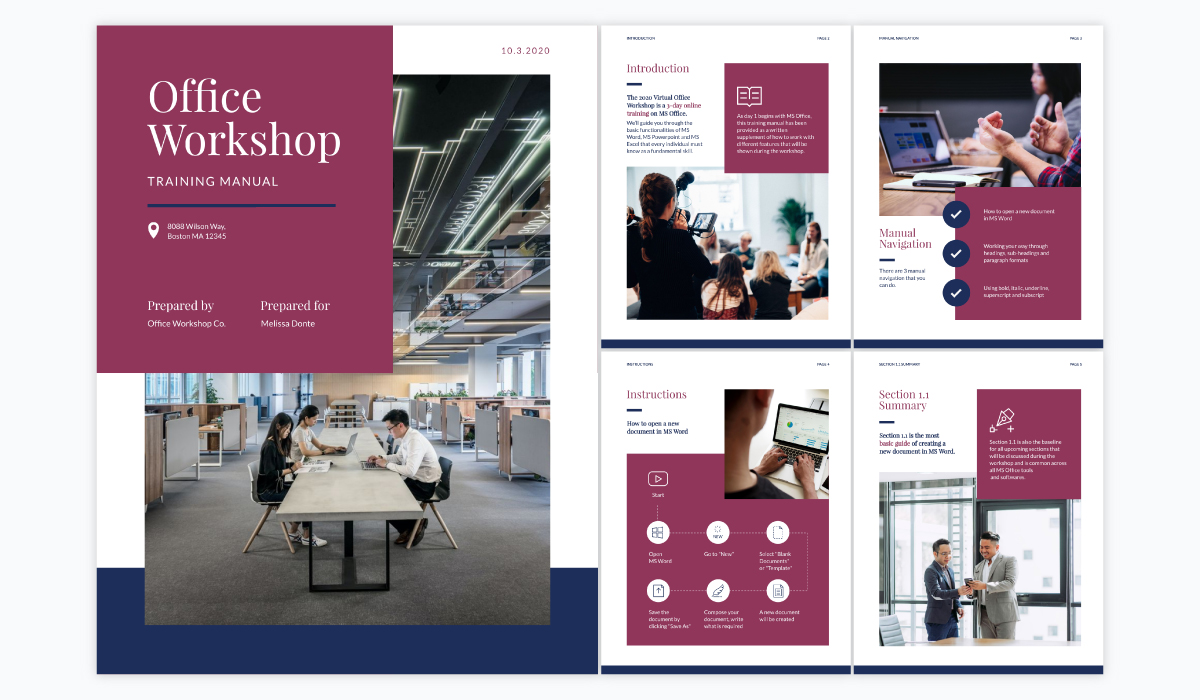 A collage showing the different pages of Visme's office workshop training manual template.