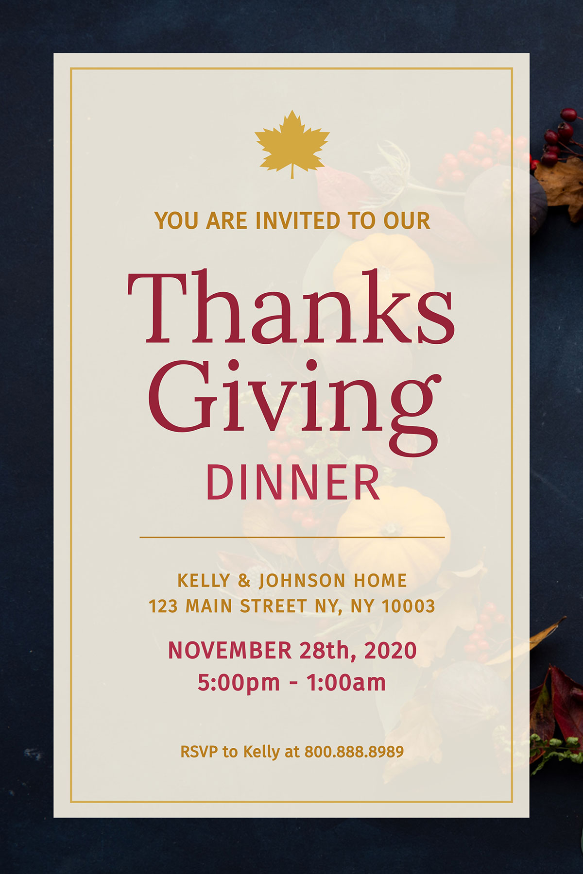 An example of a Visme invitation template that uses stock photography in the background.