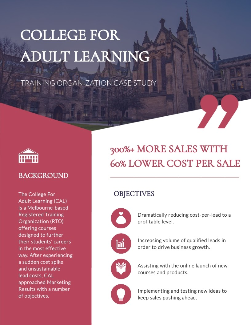 College for Adult Learning case study template available for customization in Visme.