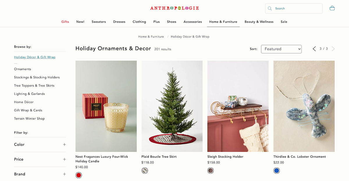 A screenshot from the holiday section on Anthropologie's online store.