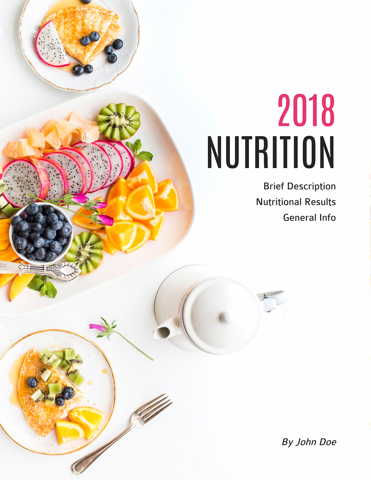 An example of an ebook cover page that has lots of white space, flat lay food photography and text.