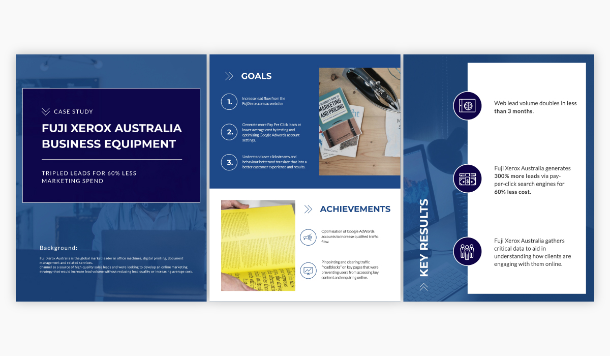 A blue and white case study template available to be customized in Visme.