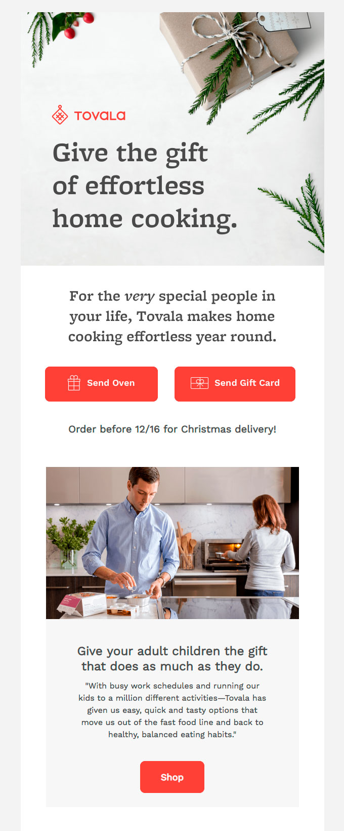 A screenshot of a holiday email newsletter campaign about gift giving.