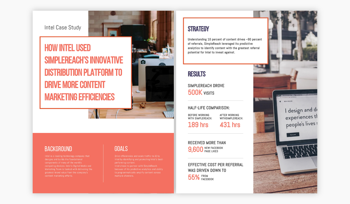 Orange and white case study template available for customization in Visme.
