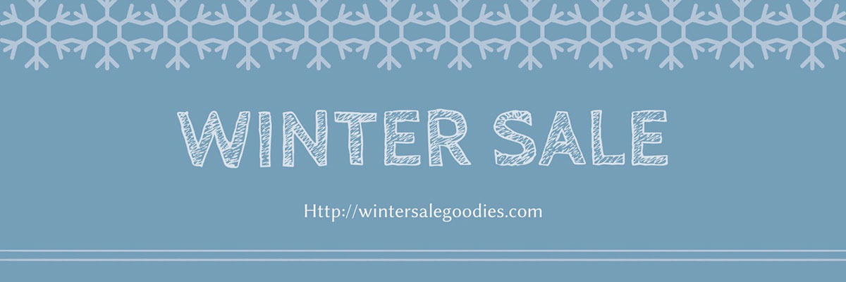A blue and white winter sale email newsletter header available in Visme.