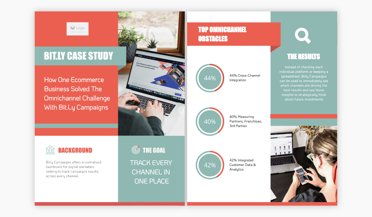 Orange and teal case study template available for customization in Visme.