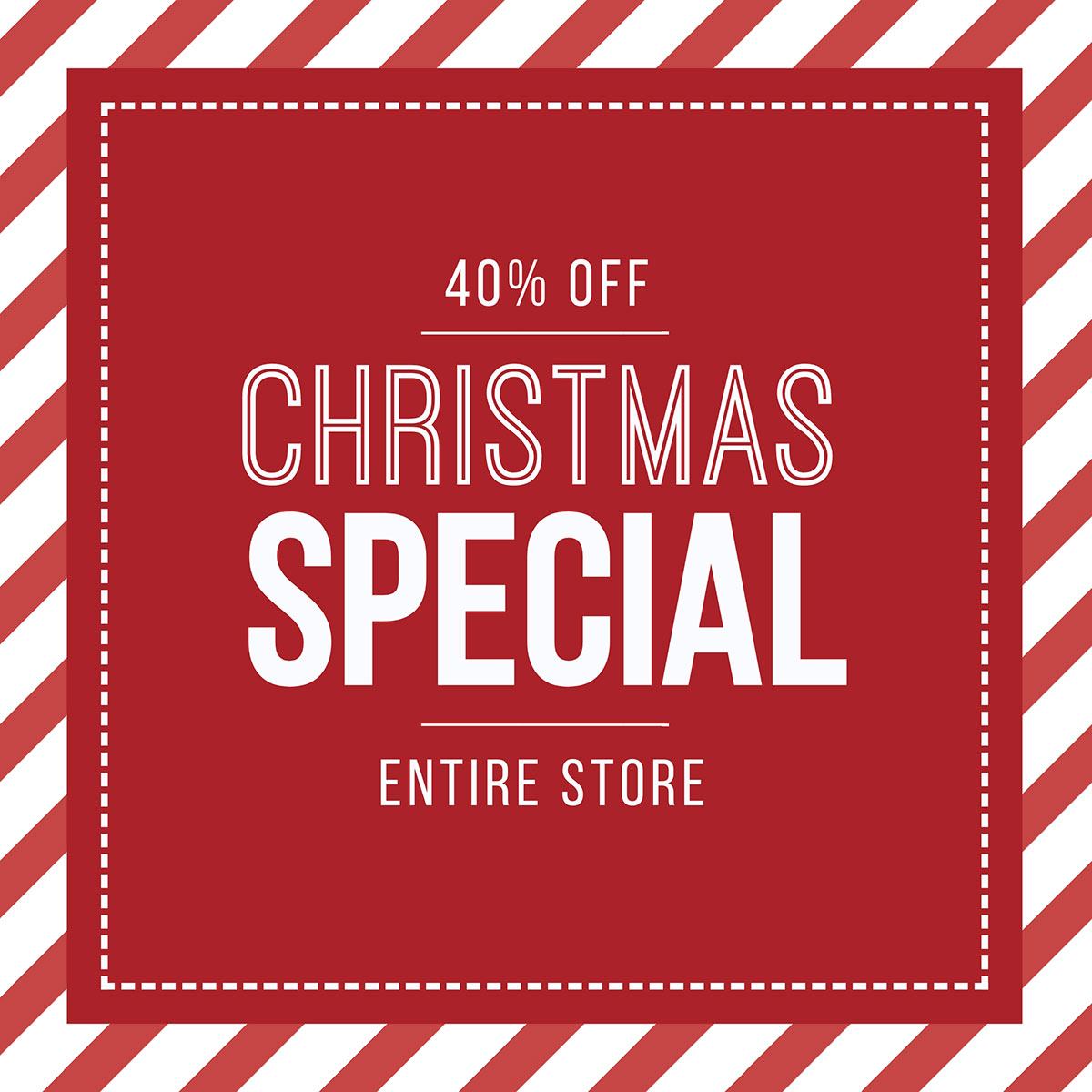 A red and white Christmas sale template available in Visme.