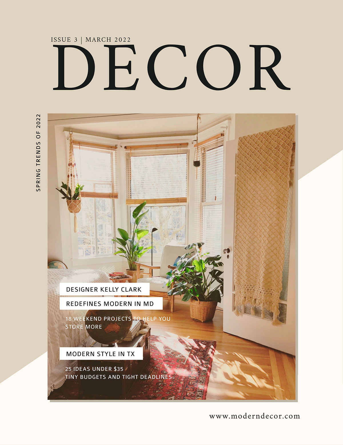 An example of a magazine cover template from Visme that uses a stock photo of a home interior at the front.