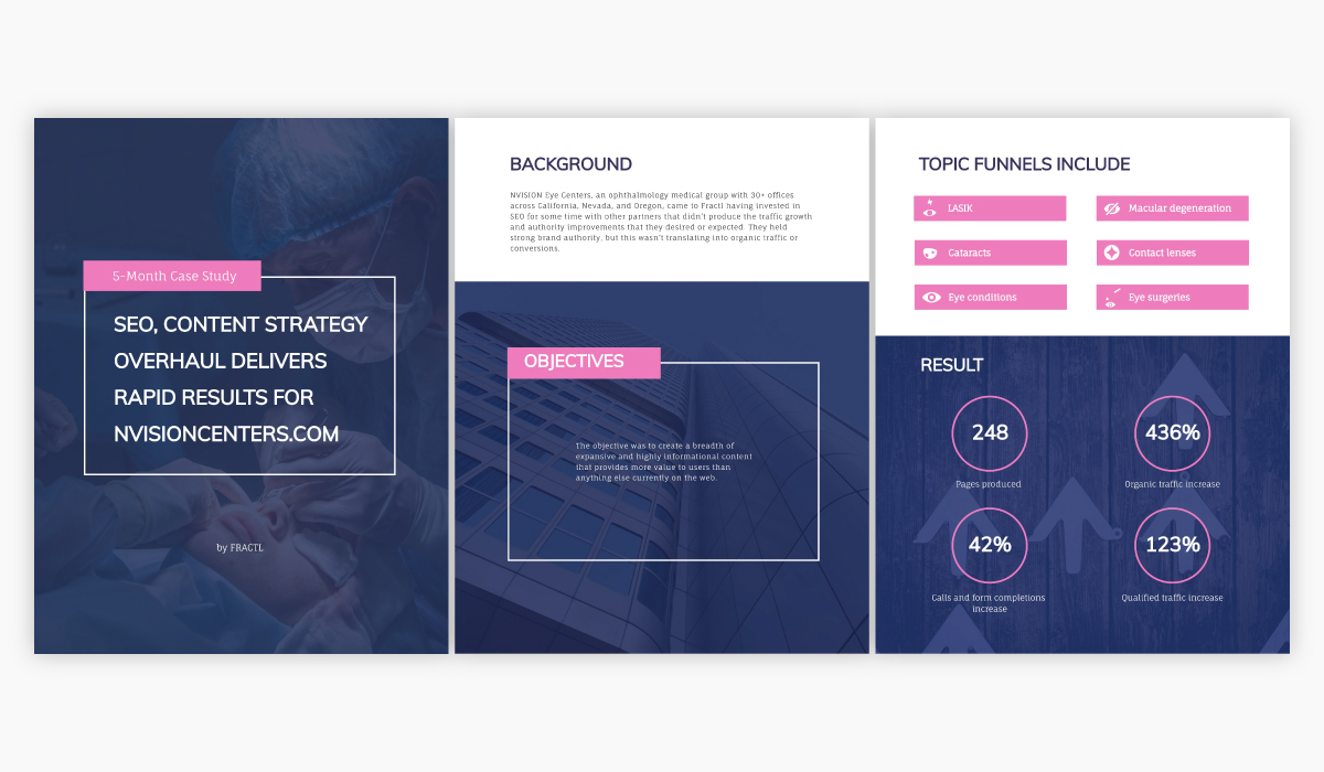 Blue and purple case study template available for customization in Visme.