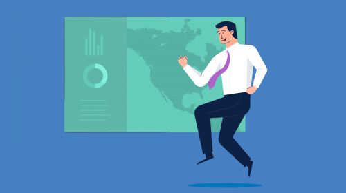 An illustration of a man in front of a sales presentation slide.