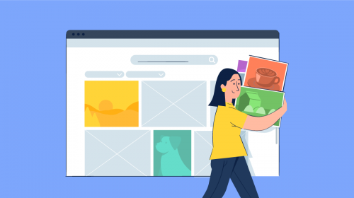 An illustration of a women holding a bunch of stock photos with spaces of where they'll go in the design behind her.