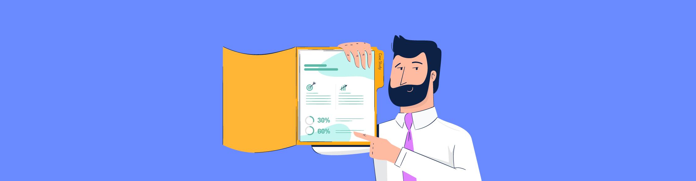 An illustration of a man pointing to a case study inside a manila folder.