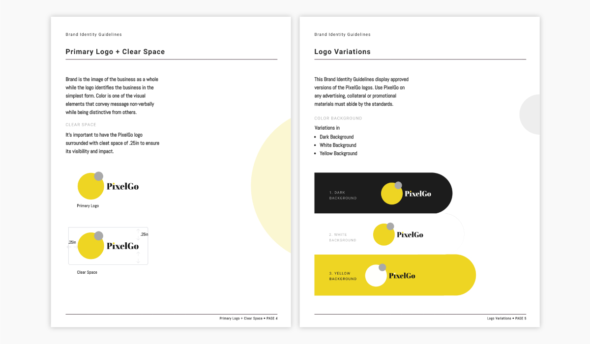 An example of brand guidelines showcasing logo usage.