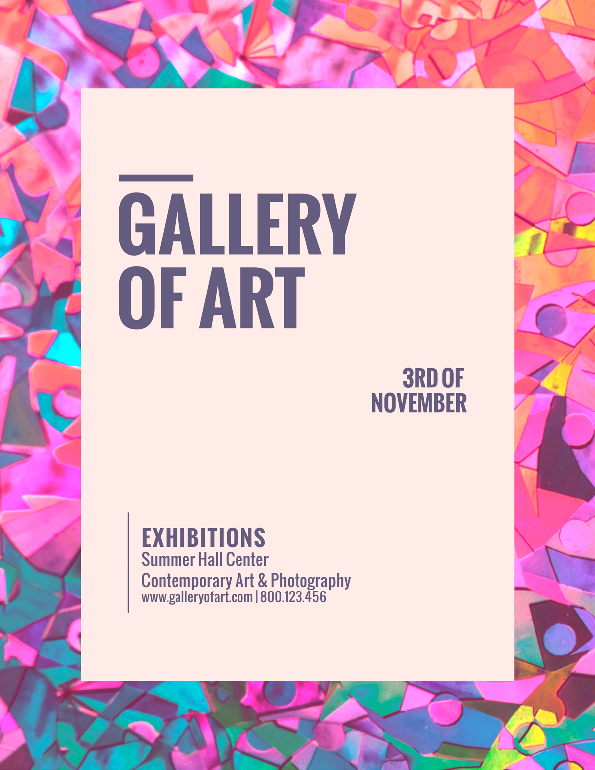A simple and colorful flyer for an art gallery.