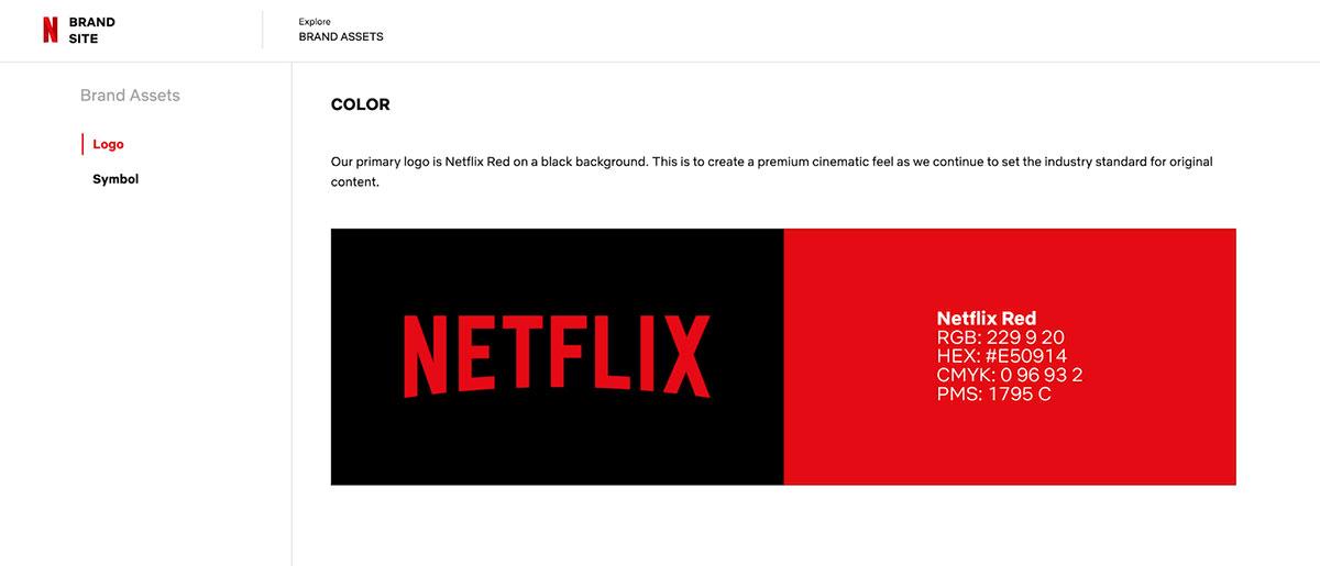 A screenshot of Netflix's brand guidelines.