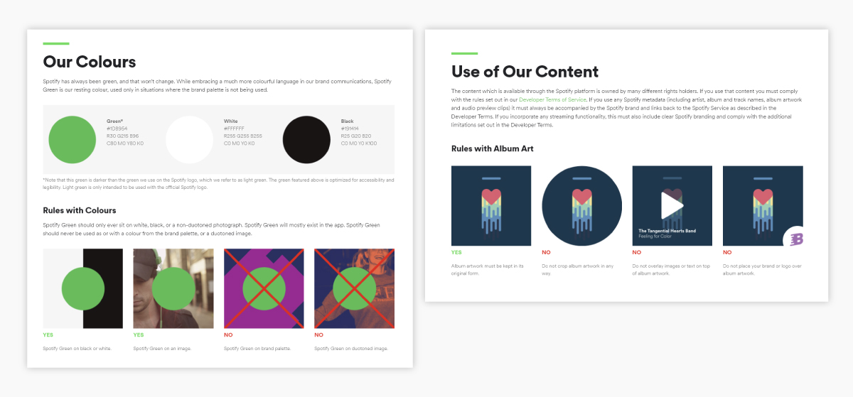 A screenshot of Spotify's brand guidelines.