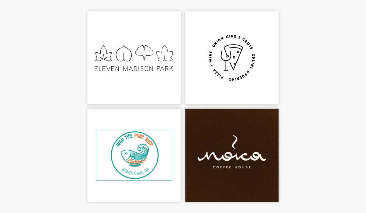 A collage of four different restaurant logo ideas.