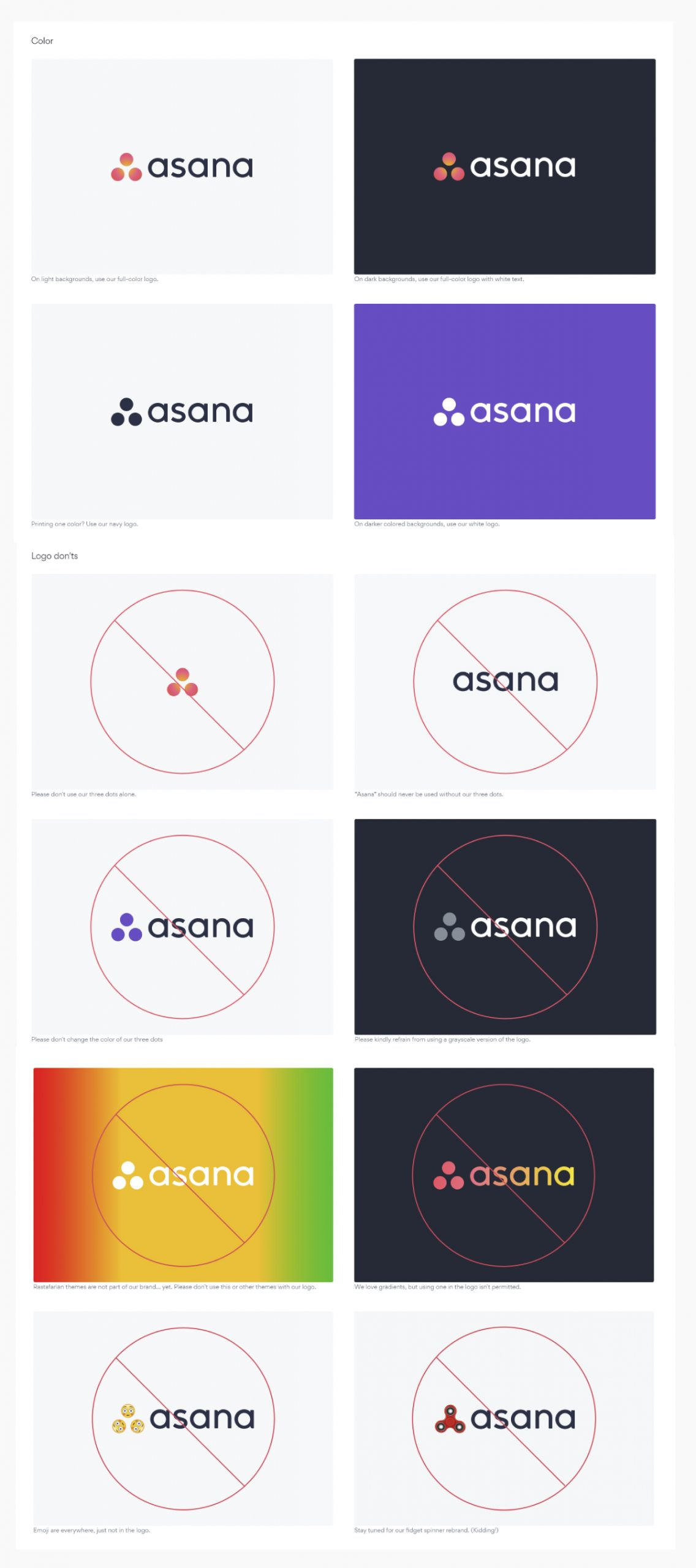 A screenshot of Asana's brand guidelines.