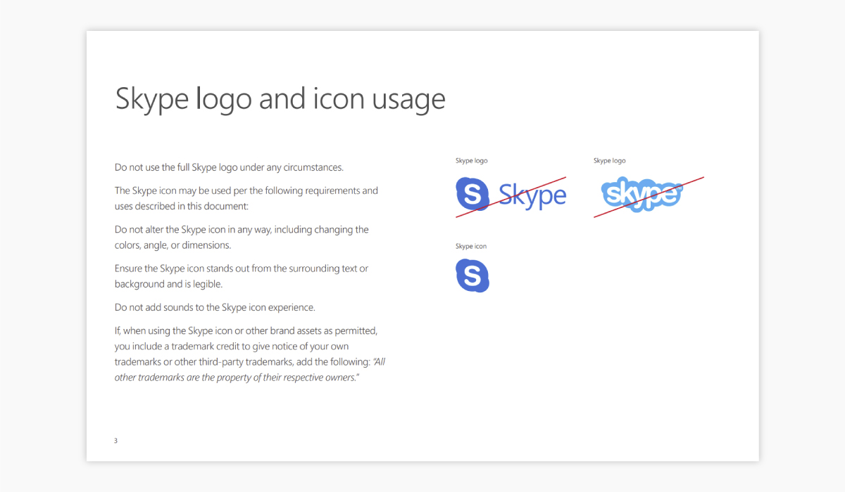 A screenshot of Skype's brand guidelines.