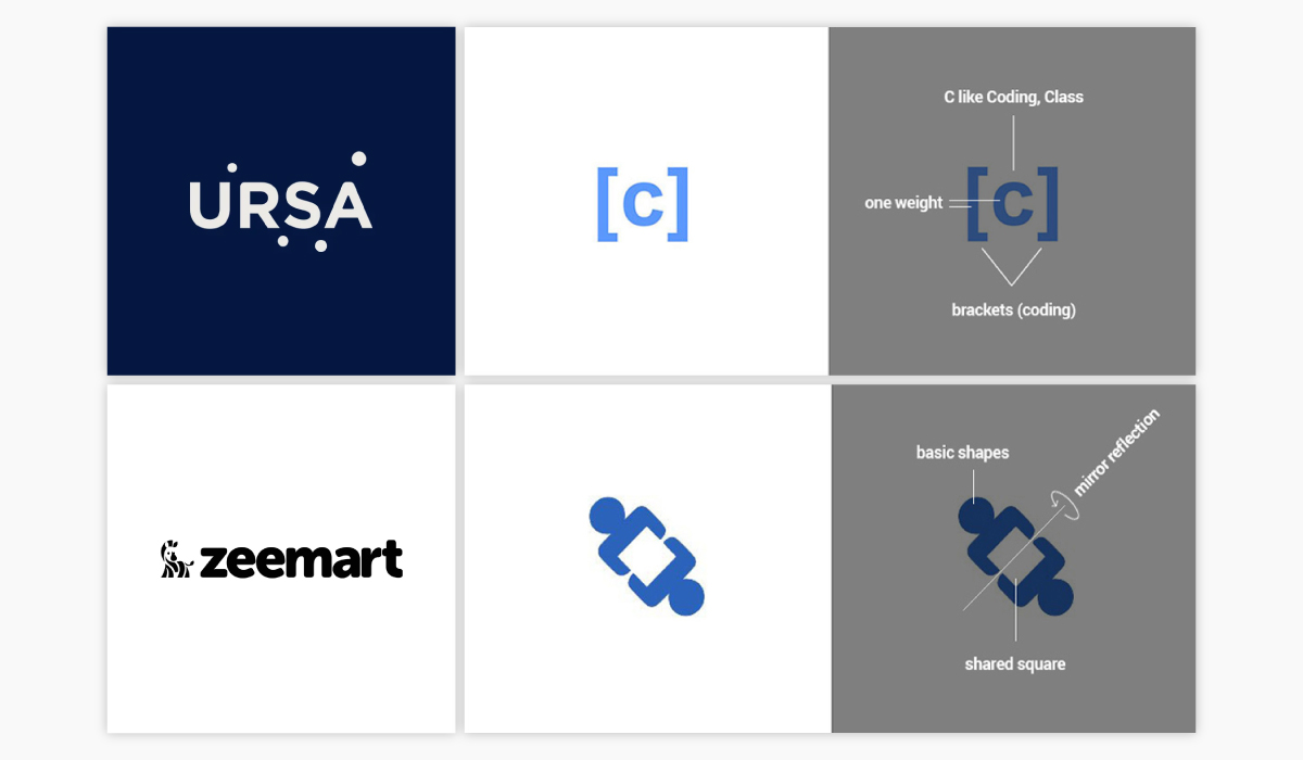 A collage of four different startup logo ideas.