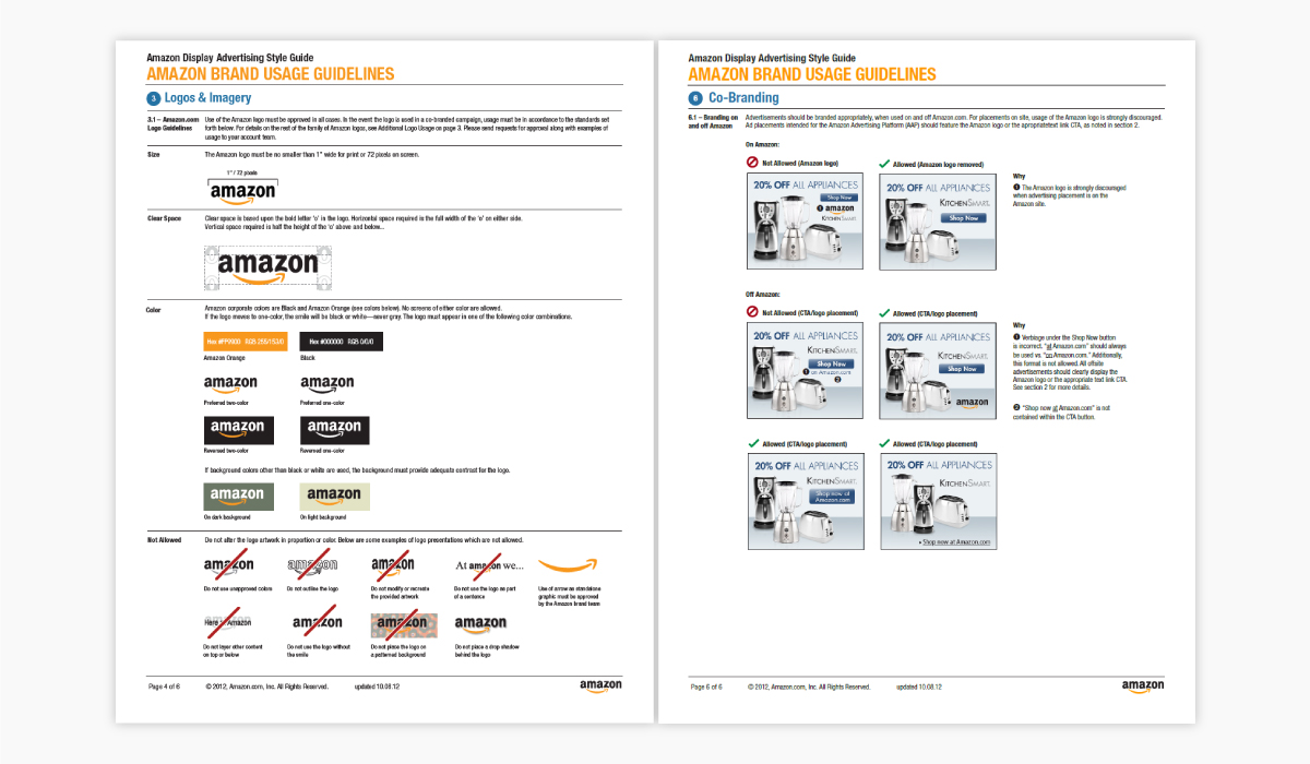 Two pages out of Amazon's brand guidelines.