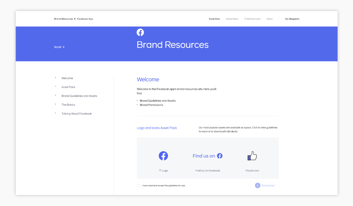 A screenshot of Facebook's brand guidelines.