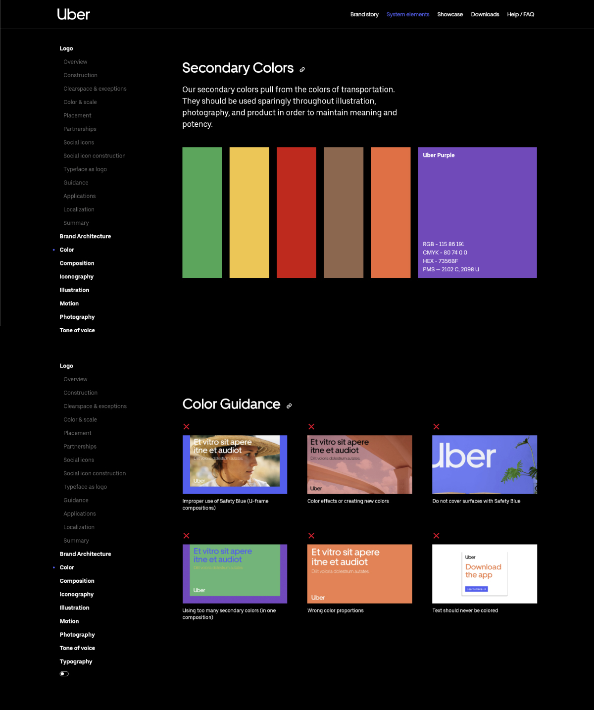 A screenshot of Uber's brand guidelines.