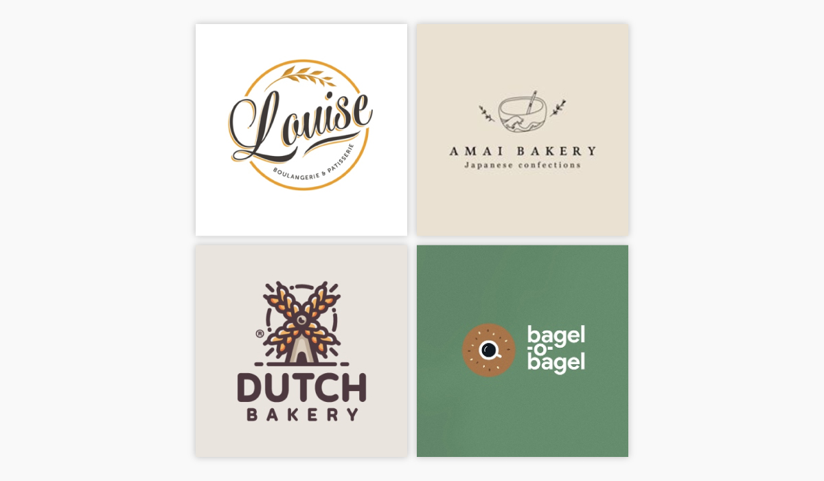 A collage of four bakery logo ideas.