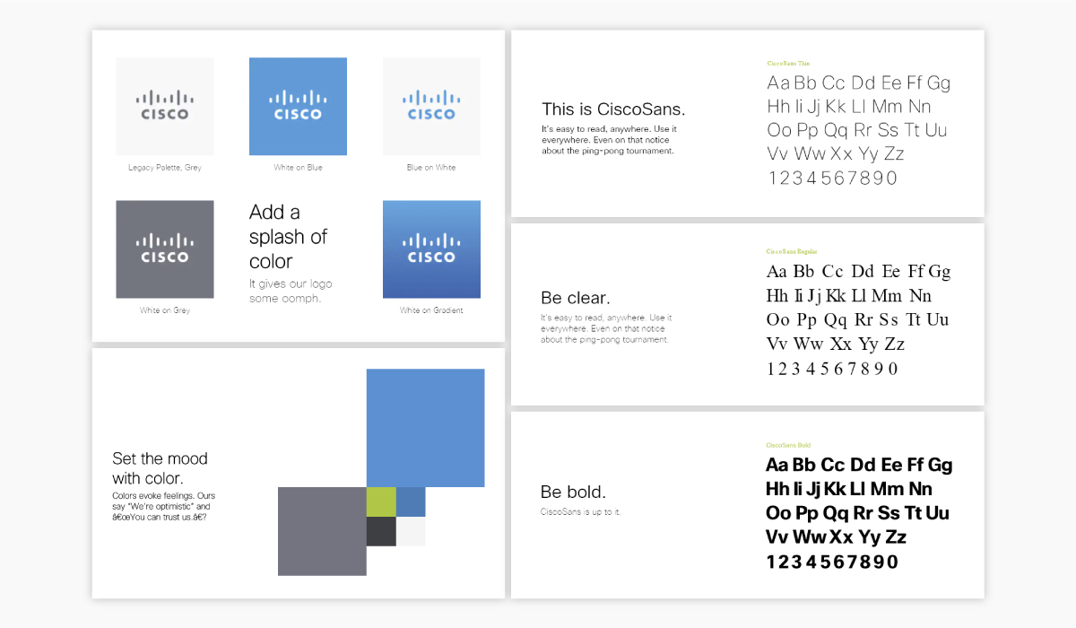 A screenshot of Cisco's brand guidelines.