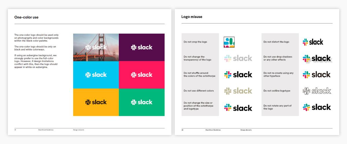 A screenshot of Slack's brand guidelines.