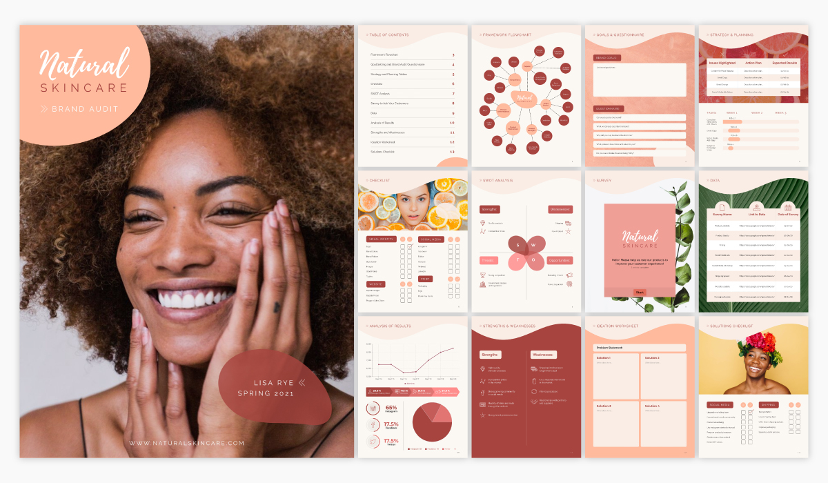 A brand audit template available in Visme.