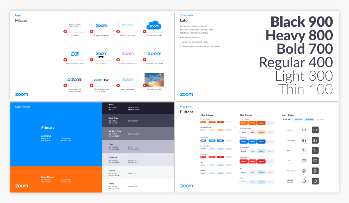 Four pages out of Zoom's brand guidelines.