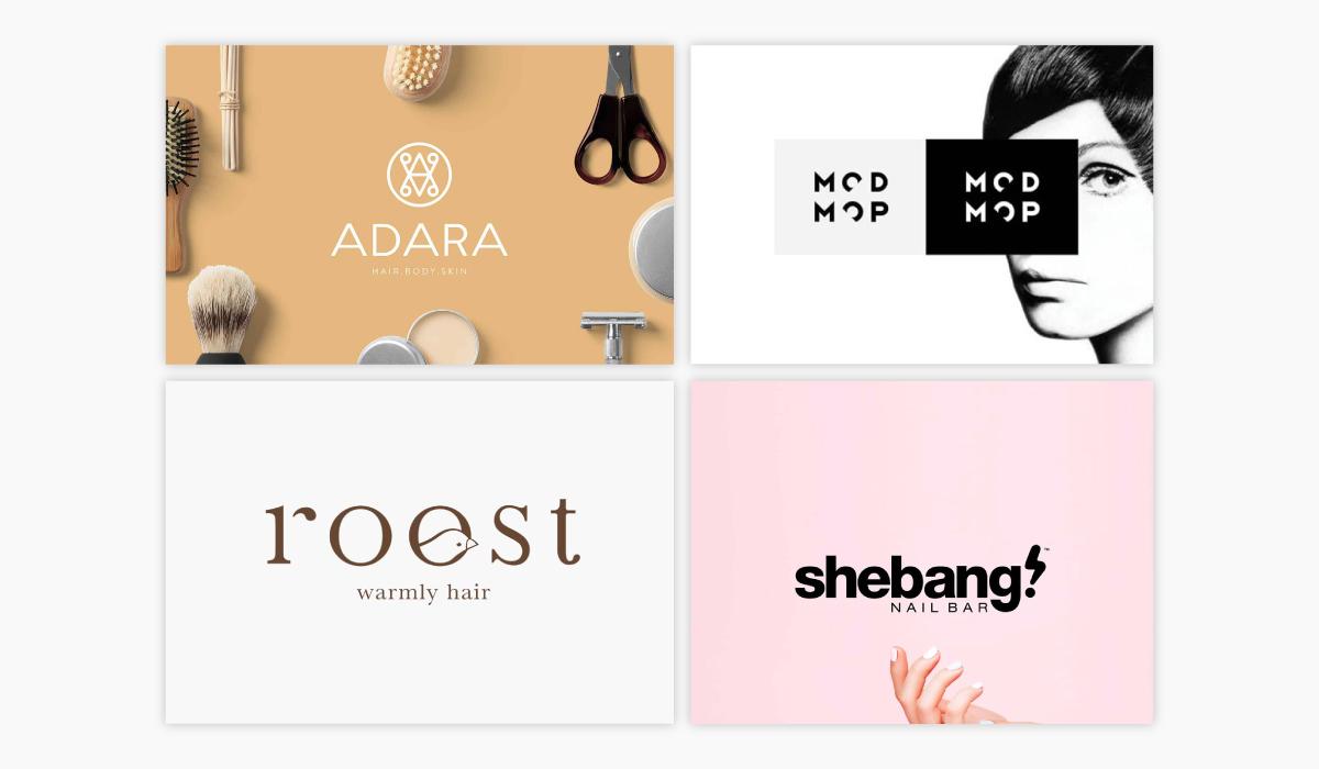 A collage of four salon logo ideas.