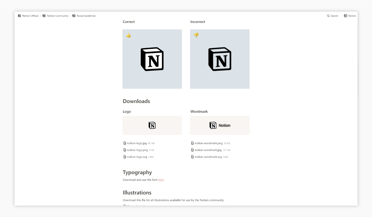 A screenshot of Notion's brand guidelines.
