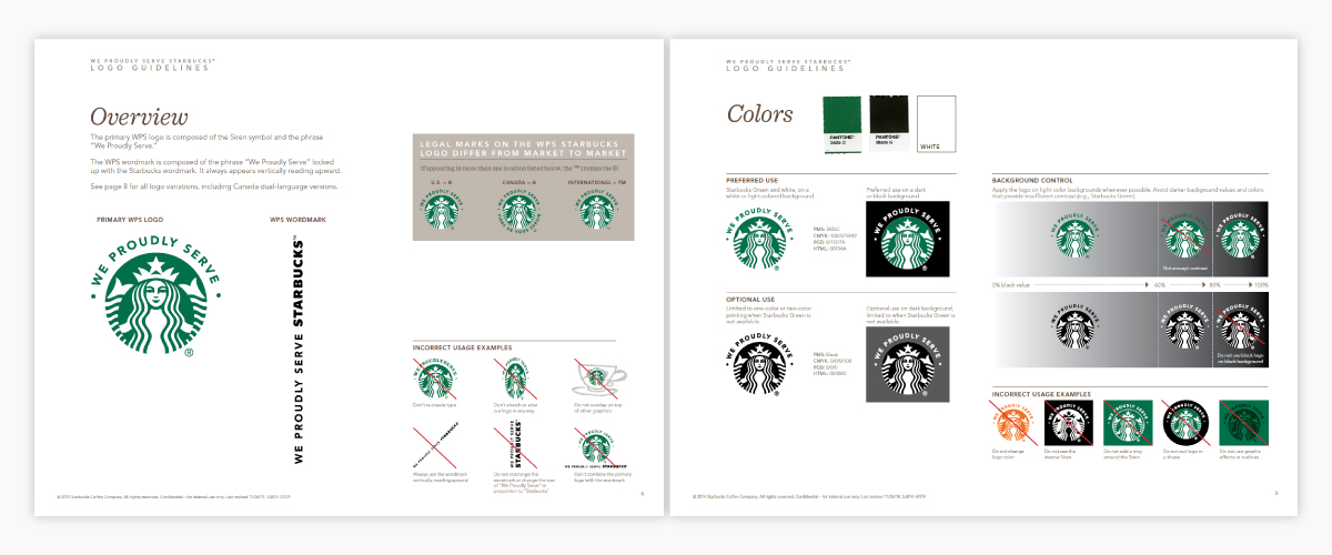 A screenshot of Starbucks's brand guidelines.