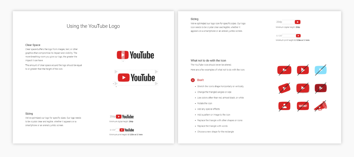 A screenshot of YouTube's brand guidelines.