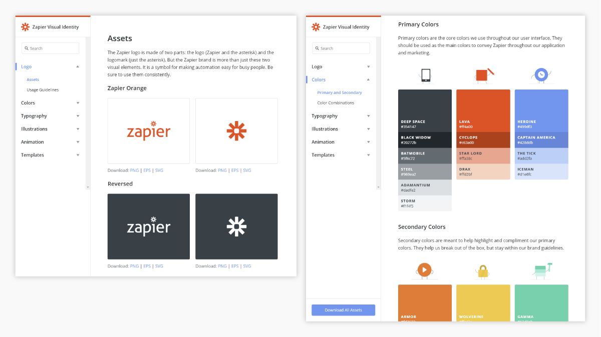 A screenshot of Zapier's brand guidelines.